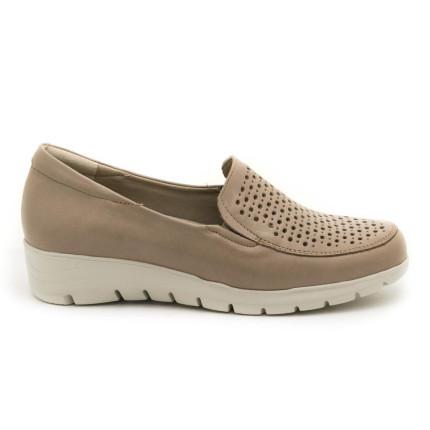 Pitillos 2001 crema - Zapato sin cordones con la pala picada en piel y plantilla acolchada