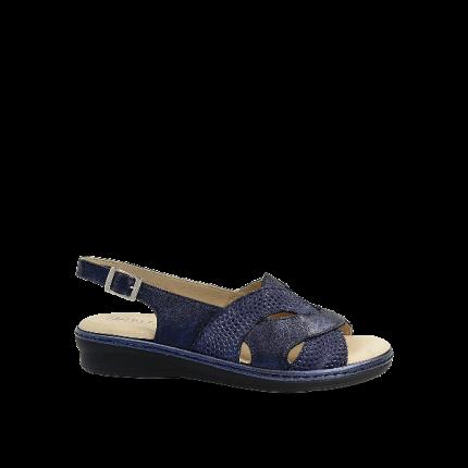 Pitillos 6001 azul marino - Sandalias de piel con plantilla extraíble muy anchas