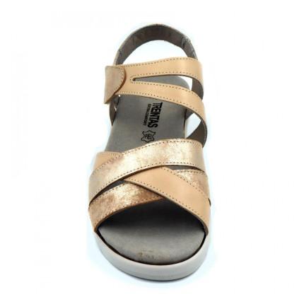 Treintas 3351 Sandalia de tiras en cuña de piel con plantlla extraíble en color arena
