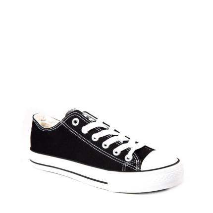 Andy-Z modelo Basket Classic Black zapatillas bajas de lona de cordones en color negro con suela blanca