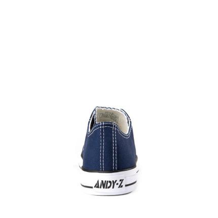 Andy-Z modelo Basket Classic AzuL Marino zapatillas bajas de lona de cordones con suela blanca