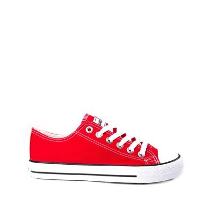 Andy-Z modelo Basket Classic Red zapatillas bajas de lona de cordones en color rojo con suela blanca