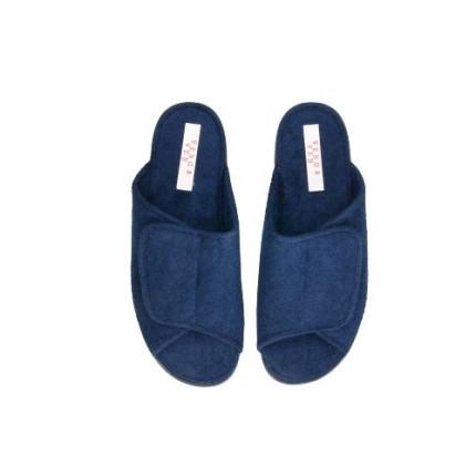 Zapatillas para estar en casa de hombre en toalla con un velcro regulable en azul marno