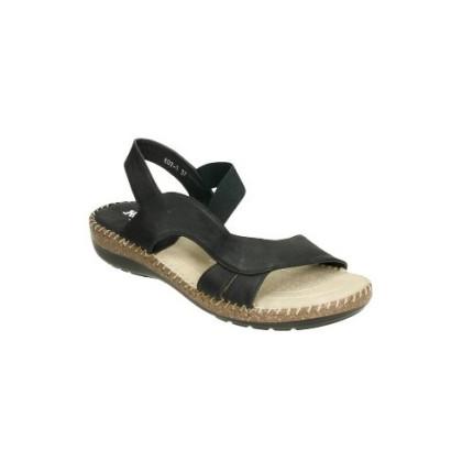 Sandalia anatómica con elastico central. Muy cómoda y fresca color: negro