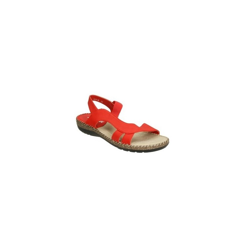 Sandalia anatómica con elastico central. Muy cómoda y fresca color: ROJO