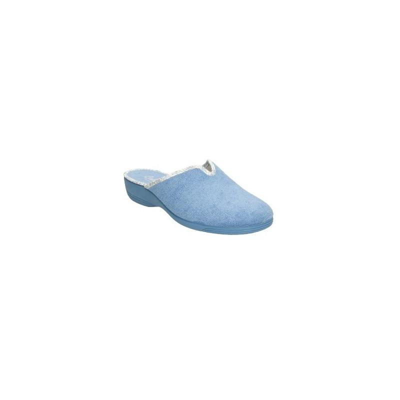 Zapatillas de casa de puntera cerrada en toalla azul claro cuña de goma