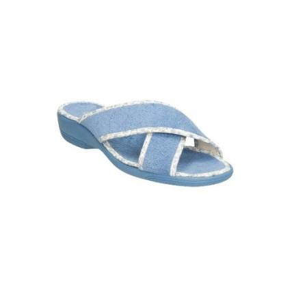 Zapatillas de tiras cruzadas en toalla aguamar