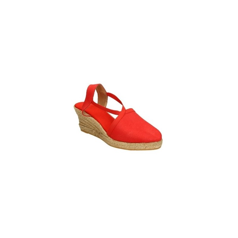 Alpargatas de cuña de cañamo y pieza de tela, con elástico para sujetar, color rojo