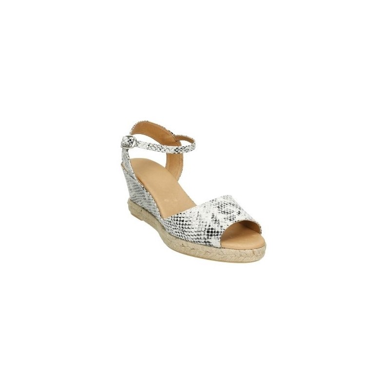 Alpargatas tipo sandalia con piel imitando a serpiente en negro y blanco, plantilla y forro de piel