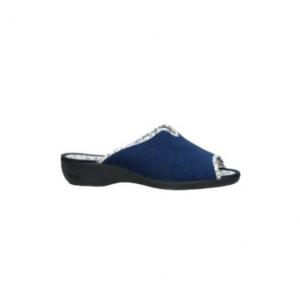Zapatillas de casa de verano con la puntera abierta fabricadas en toalla y forro de tela en color azul marino