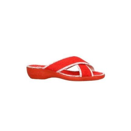 Zapatillas de tiras cruzadas en toalla rojo