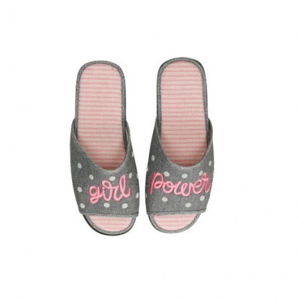 Zapatillas planas de tela con bordado de Girl power