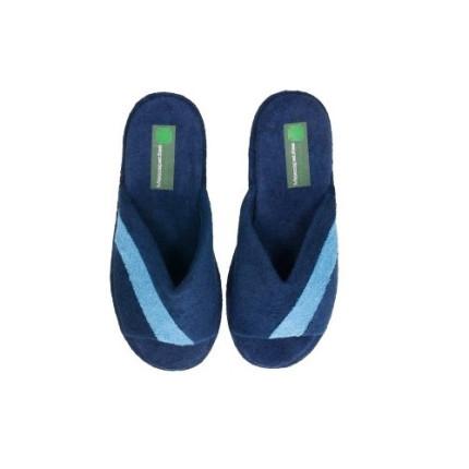 Zapatillas de casa de rizo en azul marino con tira diagonal en azul claro