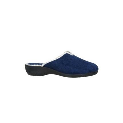 Zapatillas de casa de puntera cerrada en toalla azul marino cuña de goma