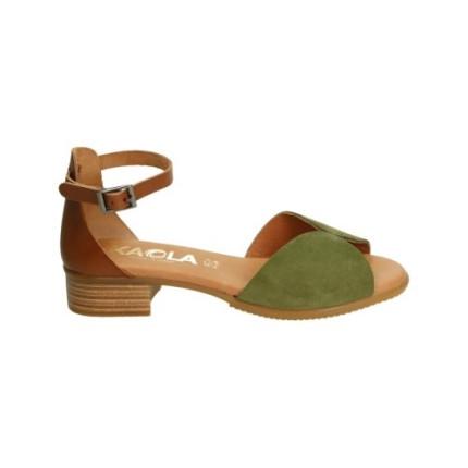 Sandalia de pala de piel vuelta en color oliva con tacón y tira para el tobillo