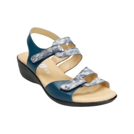 Sandalia de cuña de dos velcros en piel con plantilla acolchada en color azul