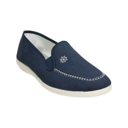 Zapatillas de calle para hombre con bordado marinero en lona azul marino