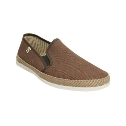 Zapatillas de lona en forma de espiga para hombre en marrón