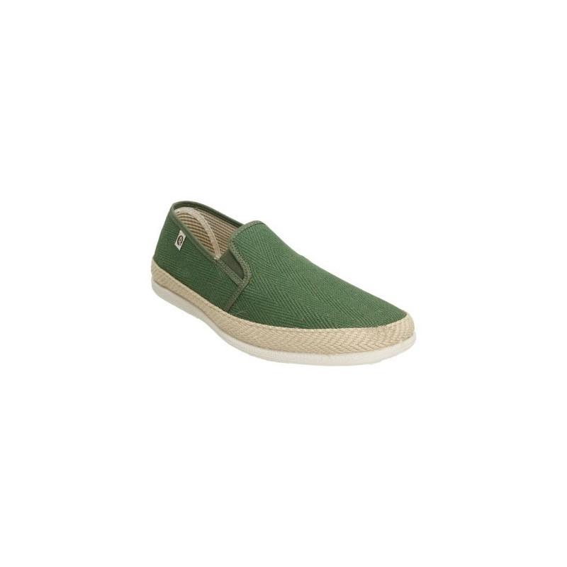 Zapatillas de lona en forma de espiga para hombre en verde