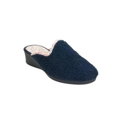 Zapatillas de casa de toalla con puntera cerrada y cuña de goma
