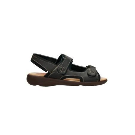 Sandalias para hombre de piel fabricadas en España con cierre de doble velcro y plantilla almohadilladas