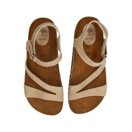 Inter-bios 7219 beige - Sandalias en piel planas con cierre en el tobillo de velcro