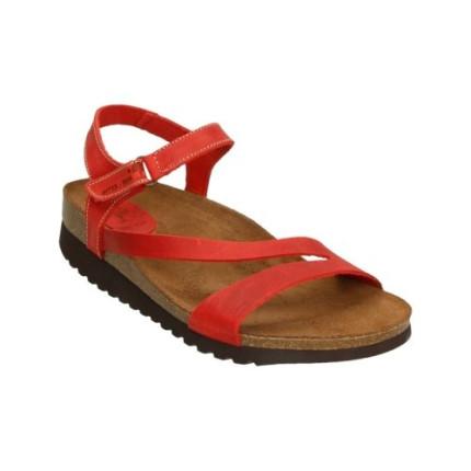 Inter-bios 7219 rojo - Sandalias en piel planas con cierre en el tobillo de velcro