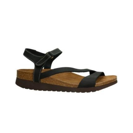 Inter-bios 7219 negro - Sandalias en piel planas con cierre en el tobillo de velcro