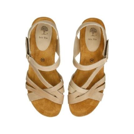 Inter-bios 5633 beige - Sandalias de cuña alta y tiras cruzadas de piel