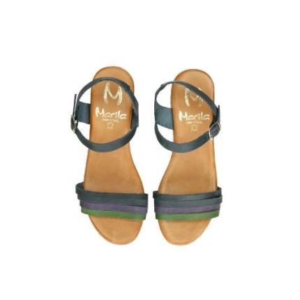 Marila 54096 - Sandalia de plataforma imitando corcho y tiritas de colores en piel