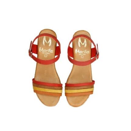 Marila 54096 - rojo - Sandalia de plataforma imitando corcho y tiritas de colores en piel