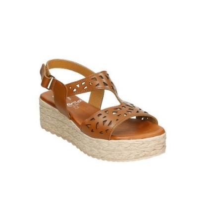 Marila 9030 marrón - Sandalias de plataforma de goma imitando al cáñamo, plantilla superacolchada
