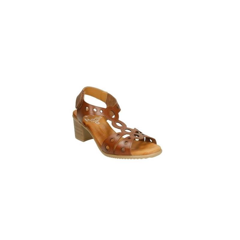 Marila 9108 marrón - Sandalias de piel en tacón