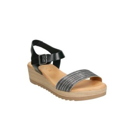 Sandalias de piel con plantillas y cierre de hebilla en color negro
