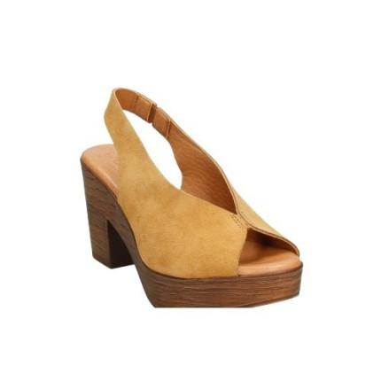 Sandalia de piel serraje con forro de piel COLOR MOSTAZA
