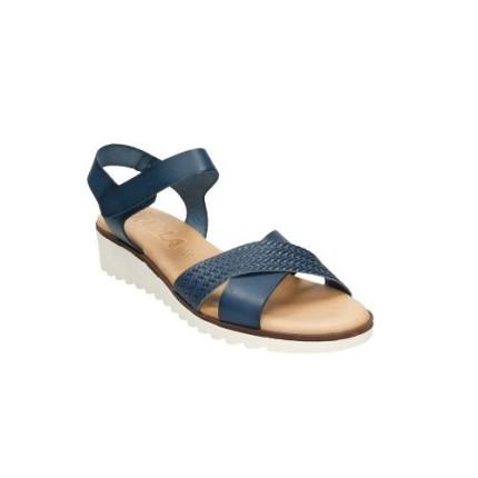 Sandalias de piel de tiras cruzadas con suela de goma muy flexible en color azul