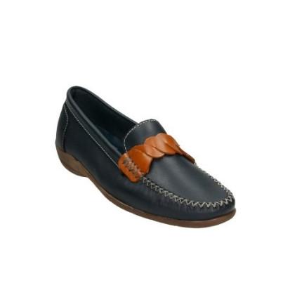 Zapatos de piel fina para mujer en azul marino con tira en el empeine en cuero