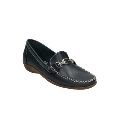 Zapatos de piel fina para mujer en azul marino con adorno metálico