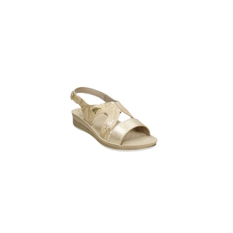 INBLU FC36 platino - sandalia con cuña muy cómoda en metalizado