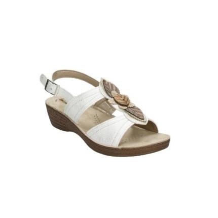INBLU GL29 - blanco. Sandalia de cuña con piezas de madera en el empeine. Muy cómodos y ligeros