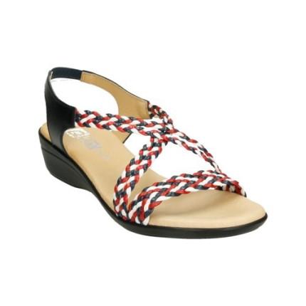 Sandalias de tiras trenzadas con cuña en tonos azul, rojo y blanco