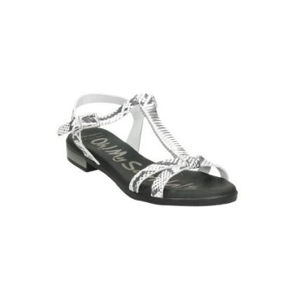 Sandalias de piel con una tira central en el empeine, piel, colo negro y blanco