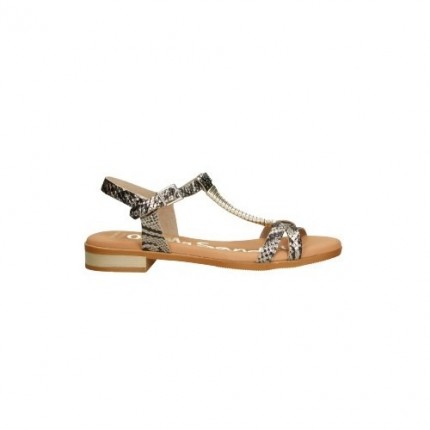 Sandalias de piel con una tira central en el empeine, piel, colo beige y marrón