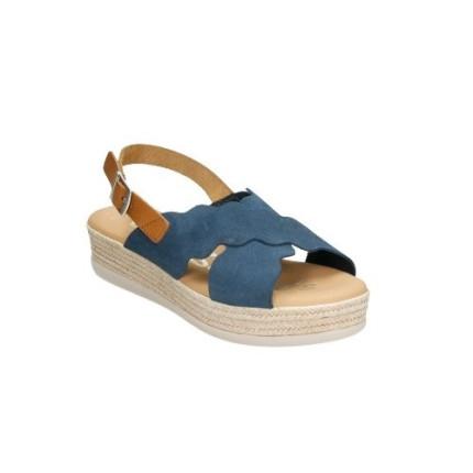 Sandalias con una pequeña plataforma en piel vuelta de tiras cruzadas,