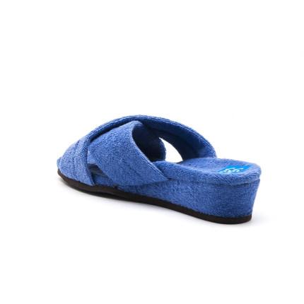 Zapatillas de casa de tiras cruzadas con cuña forrada en rizo color aguamar