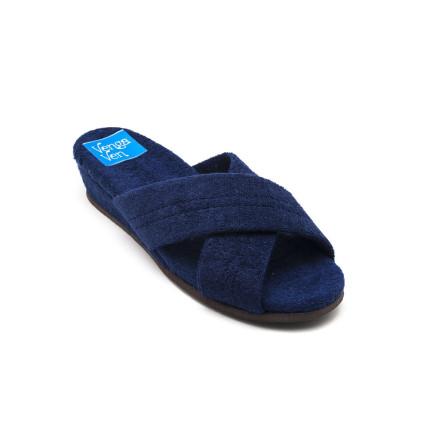 Zapatillas de casa de tiras cruzadas con cuña forrada en rizo color azul marino