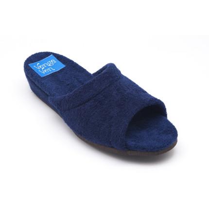 Zapatillas de casa de algódon de toalla en color azul marino con cuña forrada al tono