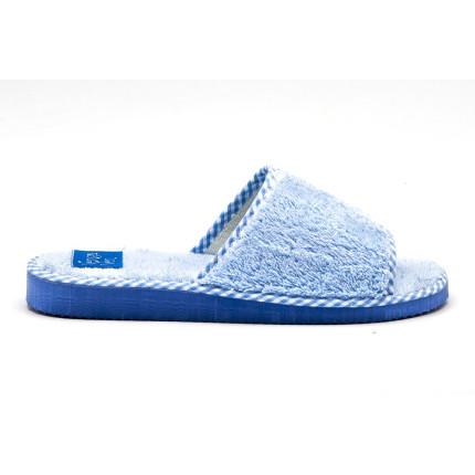 Zapatillas de algodón con puntera abierta de color azul cielo
