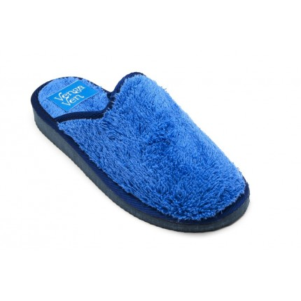 Zapatillas de algodón con la puntera cerrada de color azul francia