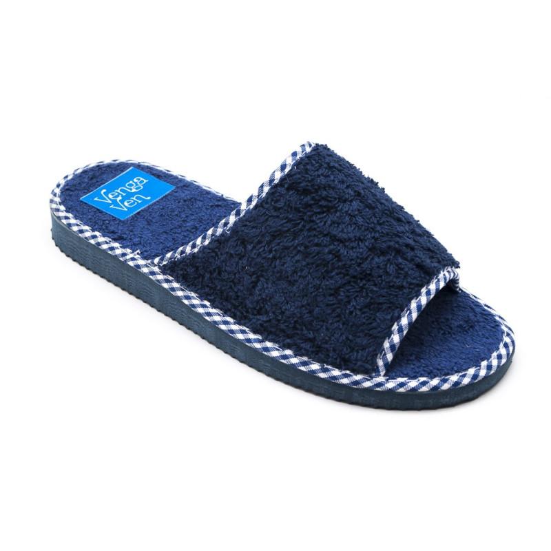 Zapatillas de algodón con puntera abierta de color azul marino